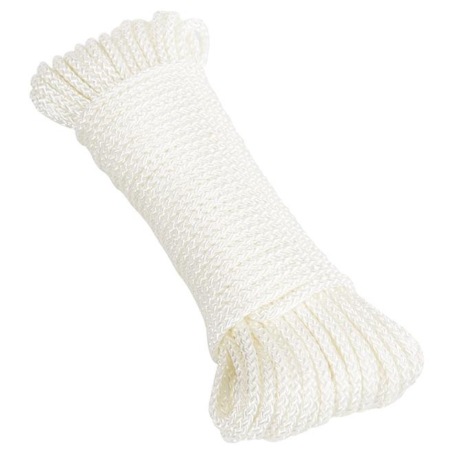 """Corde en nylon, tressée en losange, 1/8"""" x 48', blanche"""