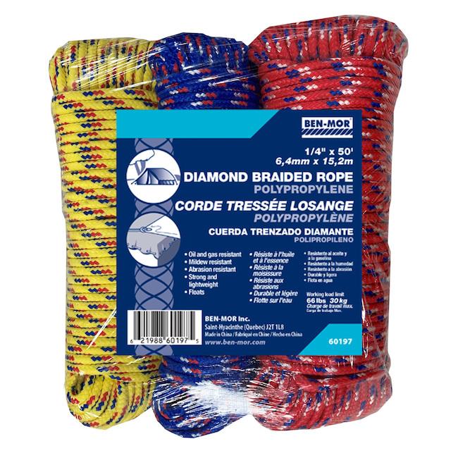 Cordes Ben-Mor tressées en losange, 0,25 po x 50 pi, polypropylène, couleurs variées, paquet de 3