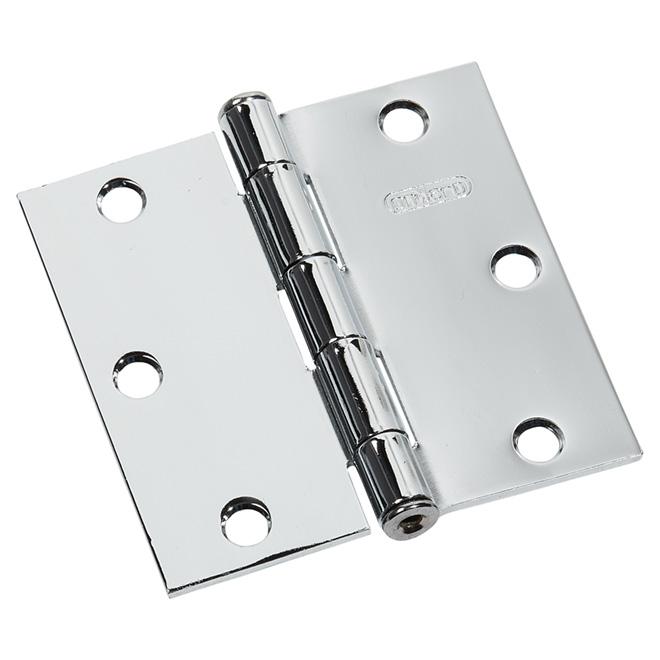 """Charnière à mortaiser, acier, carré 3 1/2"""", chrome"""