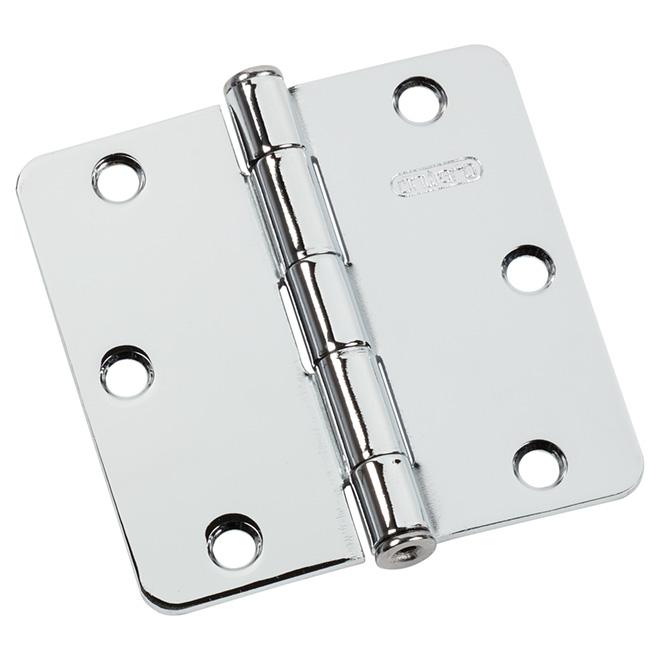 Charnière simple mortaisée à coins arrondis Onward, acier, chrome, 3 1/2 po l., rayon du gond de 1/4 po