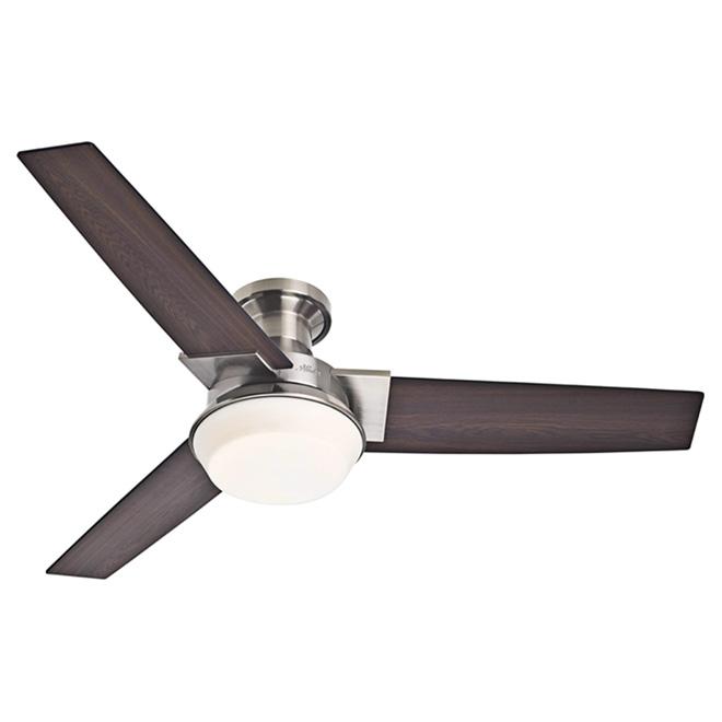 Hunter Morelli 1-Light 3-Blade Ceiling Fan - 52-in - Brushed Nickel