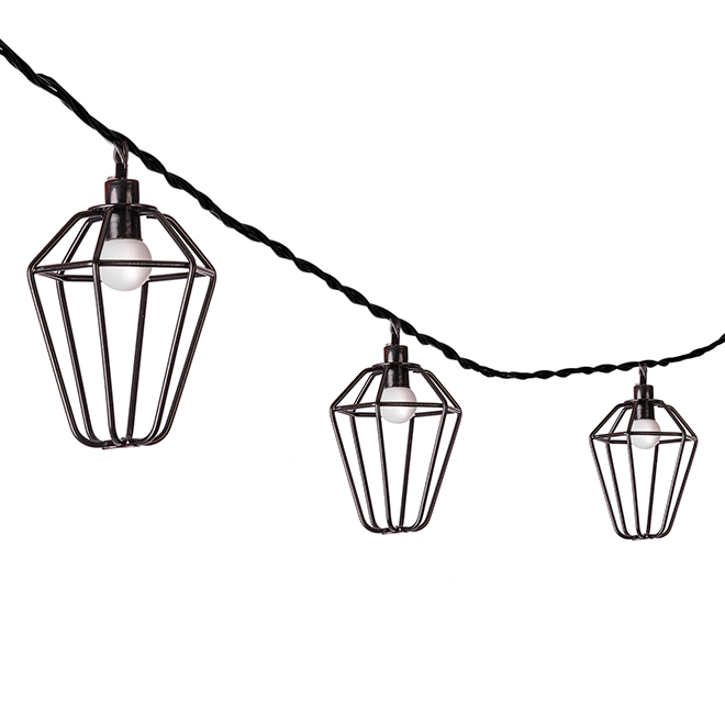 Paradise String Lights - Set of 10 LED  Lights - Black Metallic Cages