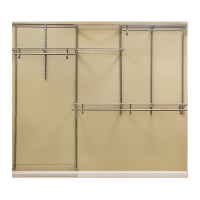 Système de rangement ShelfTrack de ClosetMaid, acier enduit de vinyle, nickel, 96 po l. x 85 1/2 po H. x 12 po P.