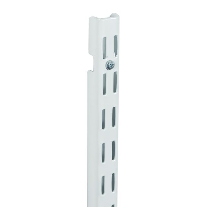 Crémaillère ShelfTrack de ClosetMaid, blanc, conception à double fente, métal à revêtement d'époxy, vertical