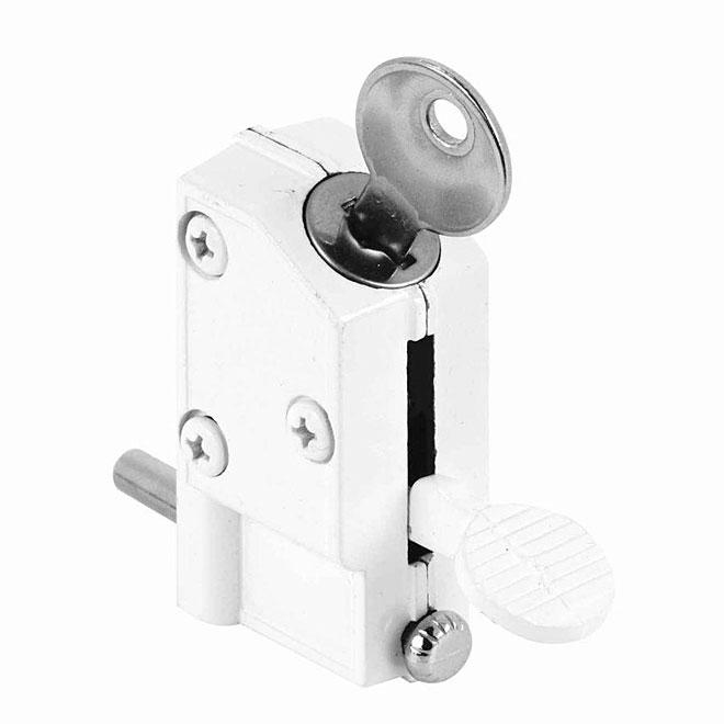 """Patio Door Keyed Lock - 1/4"""" Bolt - Die-Cast - White"""