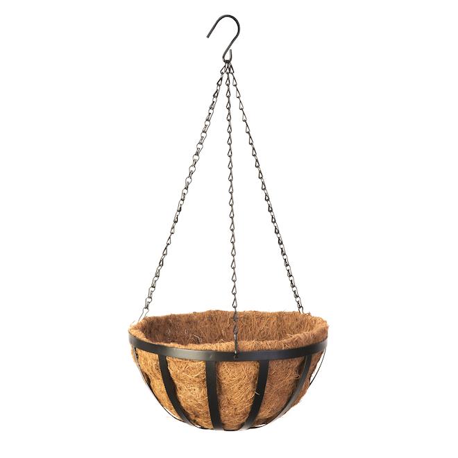 Panier suspendu Panacea, acier avec doublure fibre de coco, 12 po, noir