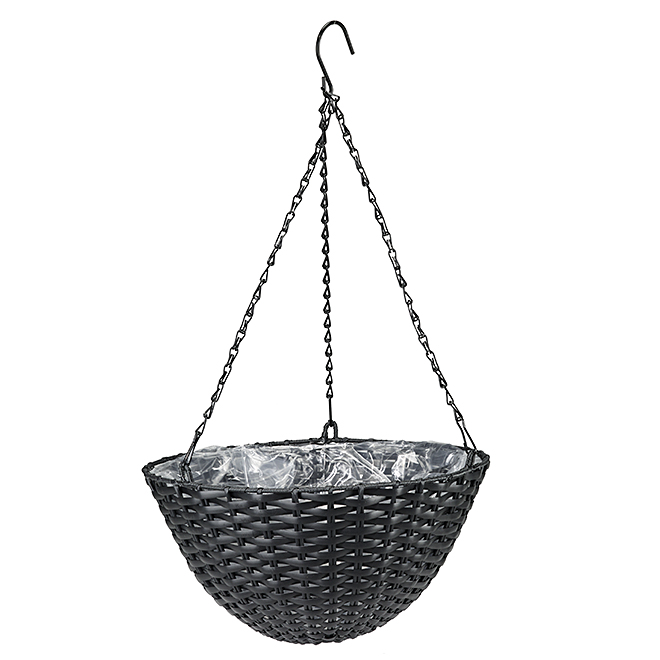 "Hanging Basket - Resin Wicker - 7"" x 14"" x 14"" - Black"