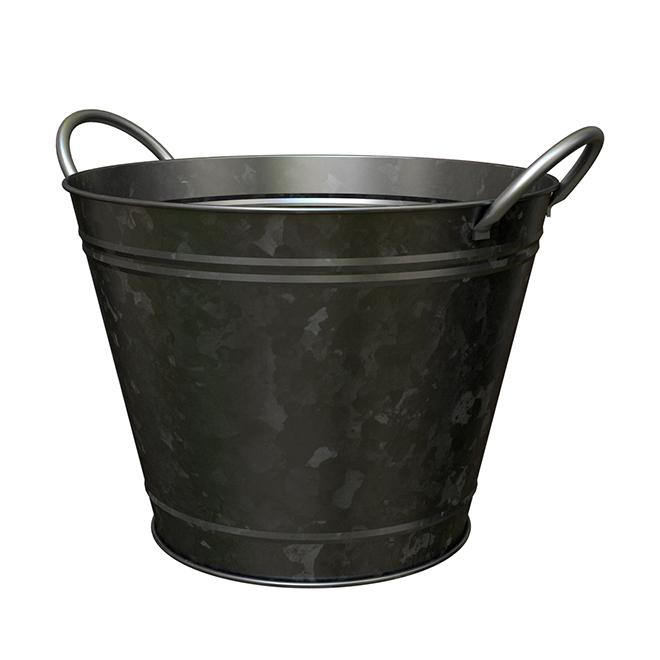 "Galvanized Metal Pail for Plants - 14"" - Black"