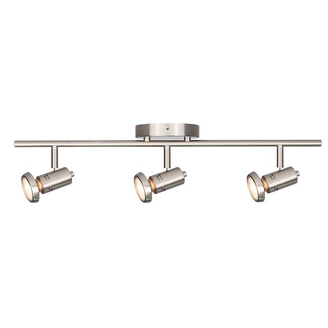 Luminaire sur rail en nickel brossé pour chambre Rene de Canarm, 3 ampoules MR16 GU10 50 W, modulable, têtes pivotantes