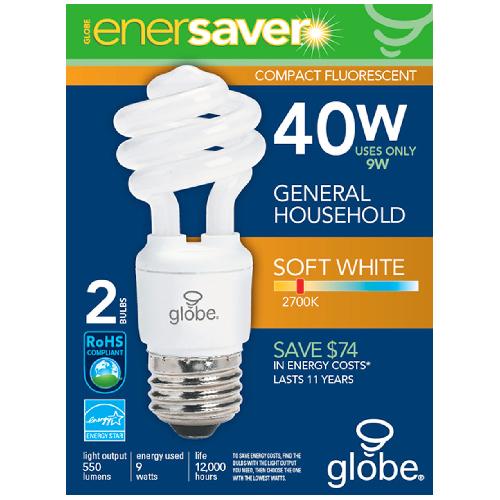 """9-W """"Ultra Mini"""" CFL Spiral Lightbulb"""