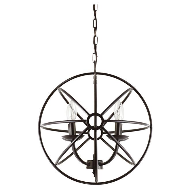 """Lustre sphérique à 4 lumières Globe, 15"""", bronze foncé"""