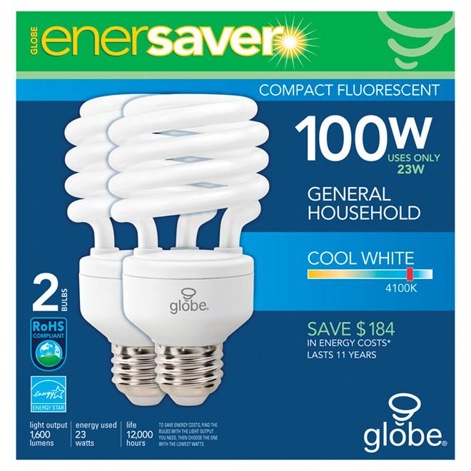 CFL Light Bulbs - T2 - E26 -  23 W - Cool White - Pack of 2