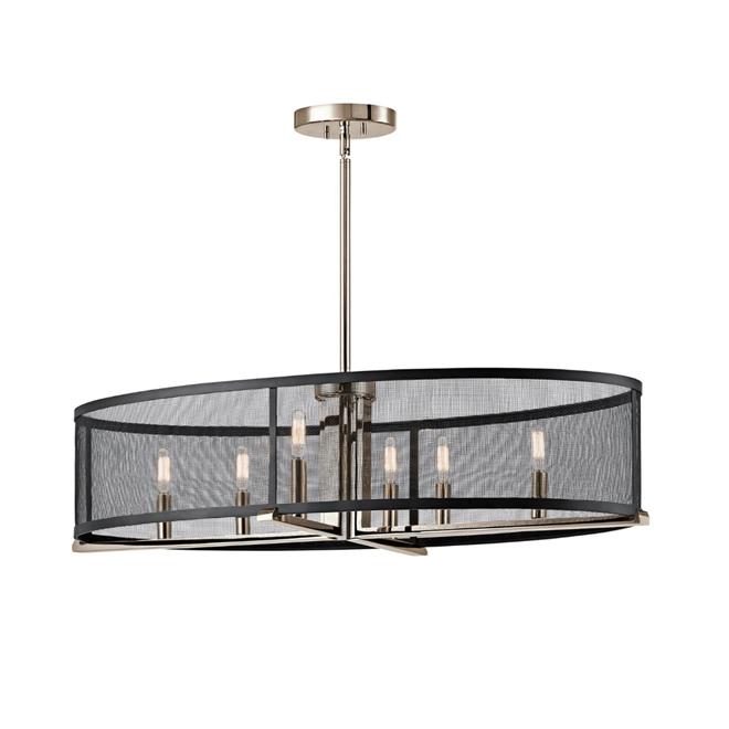 Suspension à 6 lumières, chrome/noir mat