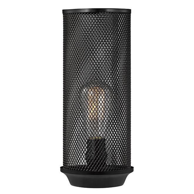 """Lampe de table avec abat-jour grillagé, 12"""", métal, noir"""
