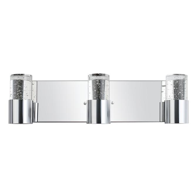 Applique pour meuble-lavabo Perrier de Globe Electric, chromé, abat-jour en verre, ampoules DEL 40 W, intensité variable