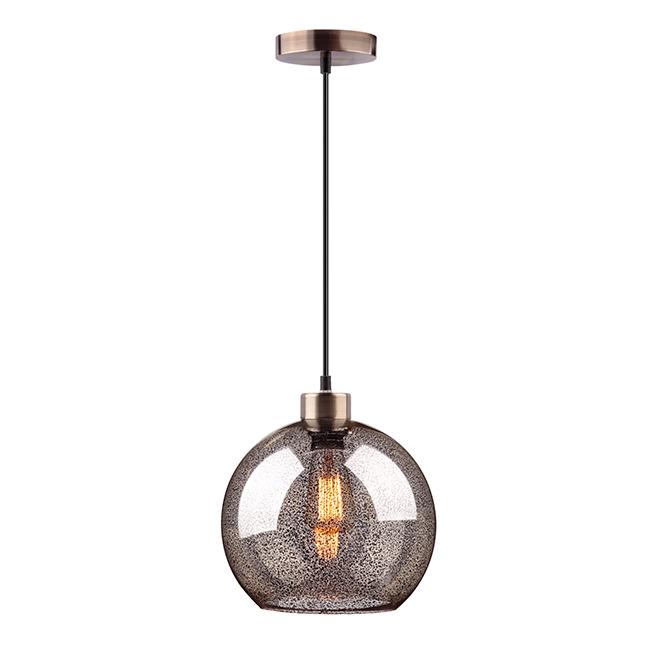 Luminaire suspendu à 1 lumière, 60 W, laiton antique