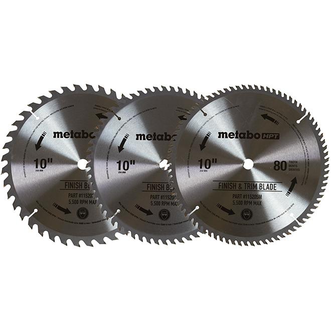 "Set of Circular Saw Blades - 10"" - Carbide - 3/PK"