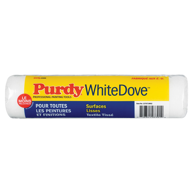 Manchon de rechange Purdy White Dove, polyéthylène, tissage résistant aux bris, 9 1/2 po l.