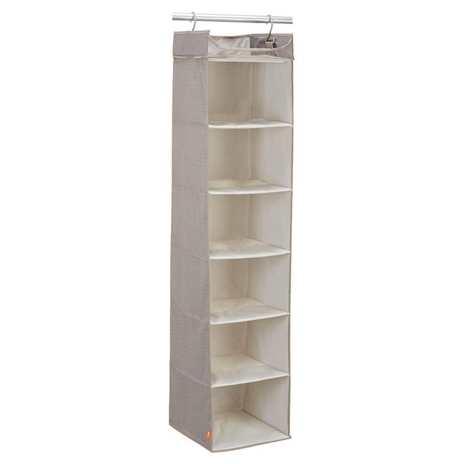 "6-Shelf Closet Organizer - Fabric - 12 1/2"" x 13"" x 60"""