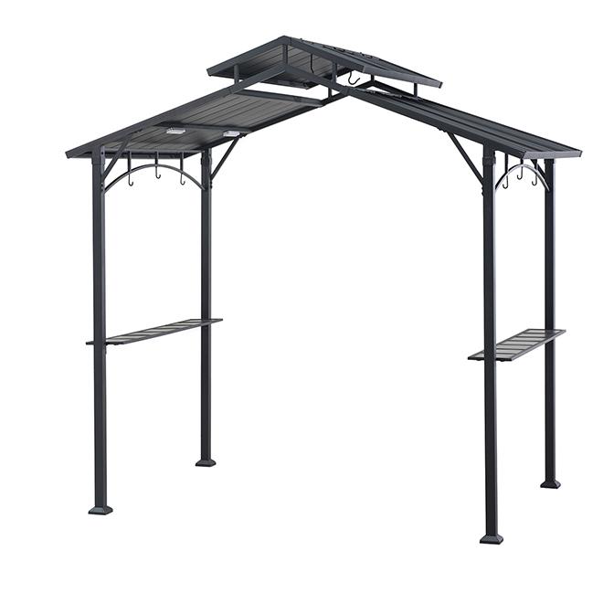BBQ Gazebo - Steel - 8' x 8.4' x 5' - Rigid Roof - Black