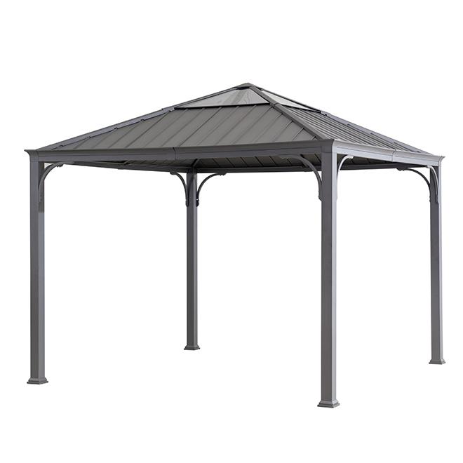 Hard Top Sun Shelter- 10' x 10' - Steel/Aluminum- Black/Grey