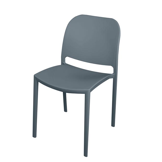 Chaise de patio empilable écologique, gris charbon