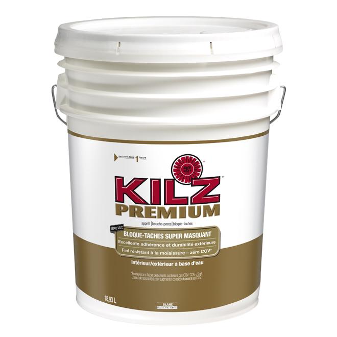 Apprêt-scellant-bloque taches Kilz Premium, intérieur/extérieur, à base d'eau, blanc, 18,93 L