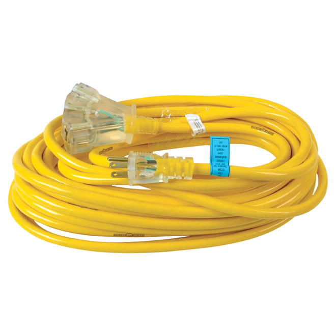 12/3 Extension Cord - Yellow Jacket - Triple Outlet - 15 m