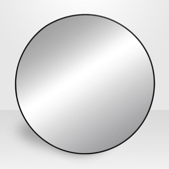 Miroir rond Avalon en métal, 32 po, noir
