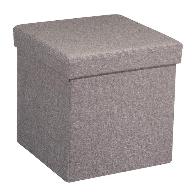 FHE Foldable Storage Ottoman in Linen - Grey