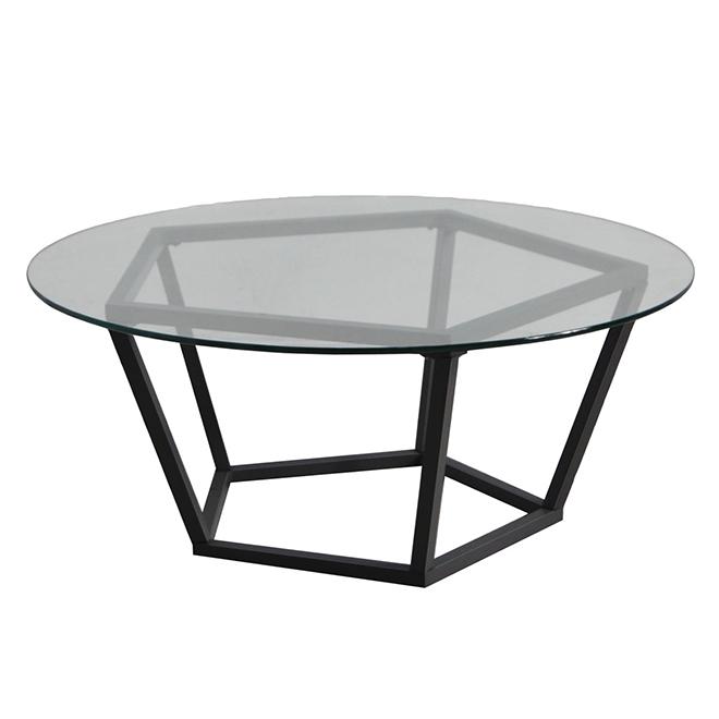 Table à café pour patio, plateau de verre, Maxfield, noir