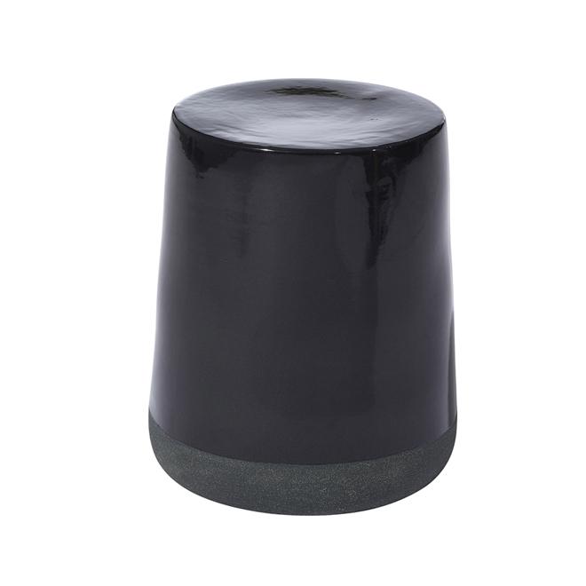 Barrel Garden Stool Ceramic Black Sand