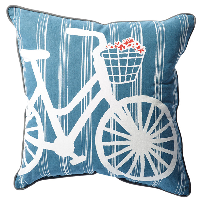 Coussin extérieur réversible, motif de vélo, 18'', bleu