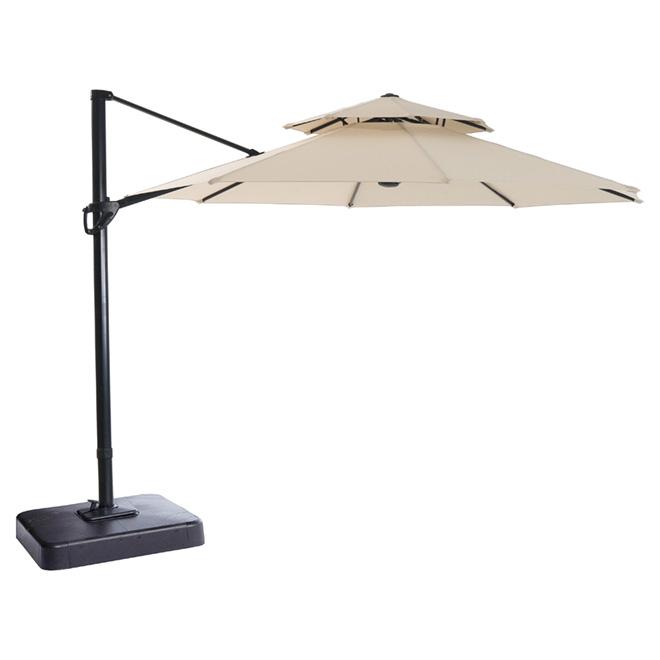 Garden Treasures Offset Patio Umbrella - Tiltable - 11-ft - Beige