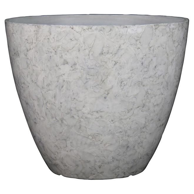 Pot de fleurs « City Oasis » en résine de marbre, blanc