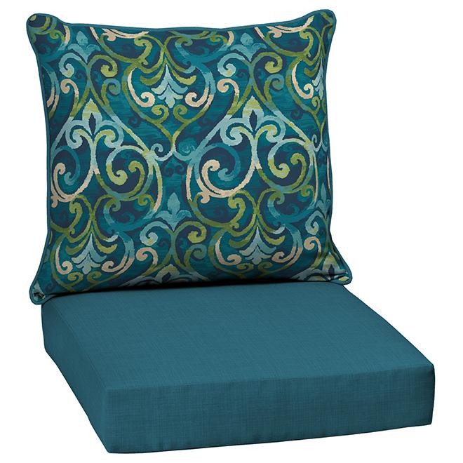 Coussins réversibles pour siège profond Style Selections, motif damassé/uni, 2 morceaux