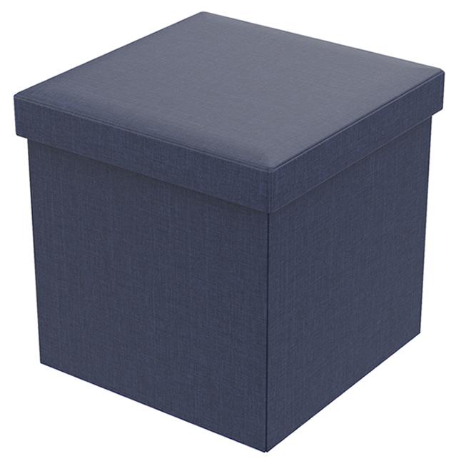 Pouf de rangement pliant Fresh Home Elements, lin, 15 po, bleu