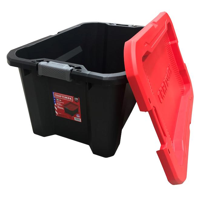 Boîte de rangement de 113 l en plastique Craftsman avec couvercle à loquet, noir