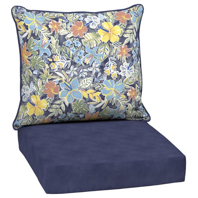 Coussins pour chaise de patio à assise profonde Style Selections, polyester, motif floral, aquarelle/bleu, 2 pièces