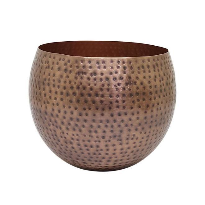 Allen + Roth Round Planter - Small - 7-in x 8-in - Hammered Antique Copper