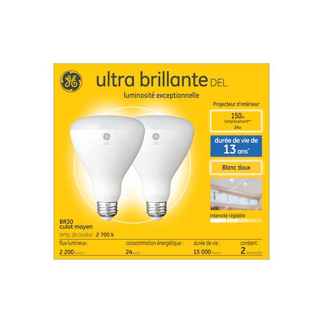 Ampoules DEL ultra brillante BR30 de GE à culot moyen, 24 W équivalent à 150 W, blanc doux, paquet de 2