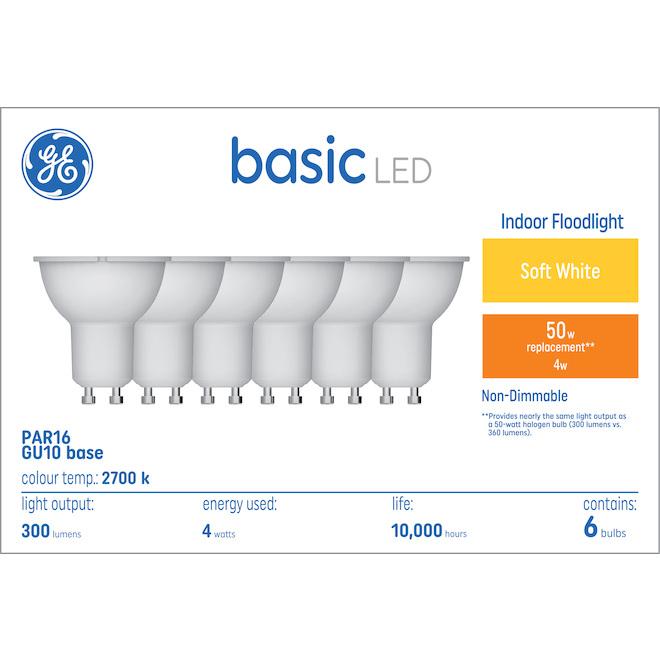 GE Basic Soft White 50 W Replacement LED Indoor Floodlight GU10 PAR16 Light Bulbs (6-Pack)
