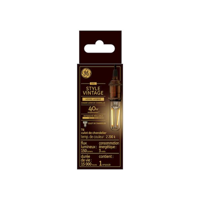 Ampoule tubulaire vintage DEL T6 de GE à culot de type candélabre et verre ambré, 3 W équivalent à 40 W, lueur chaude