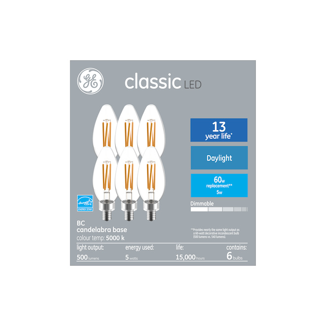 GE Classic 5.0 W  B10C LED Bulbs - Daylight - 6/Pack
