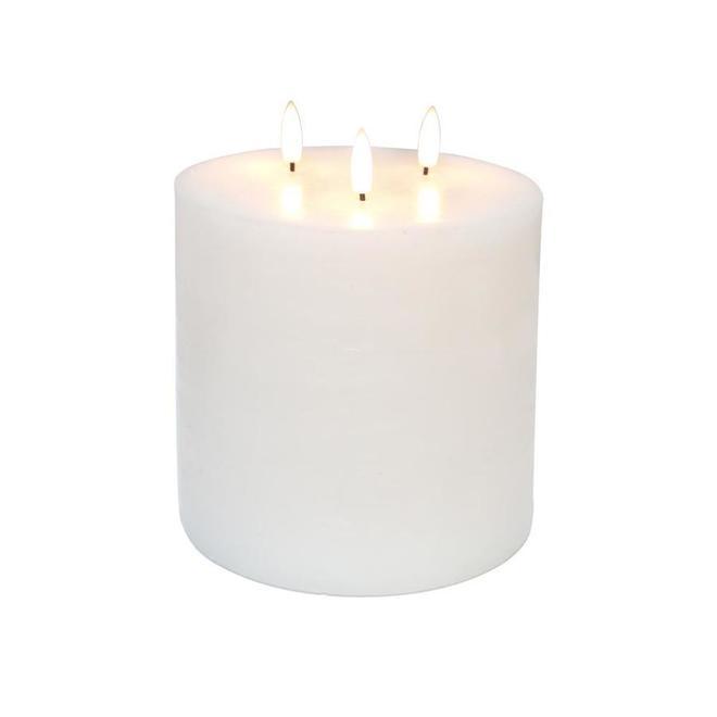 Chandelle sans flamme intérieure et extérieurs Danson Decor, lumières DEL, 6 po x 6 po, blanc