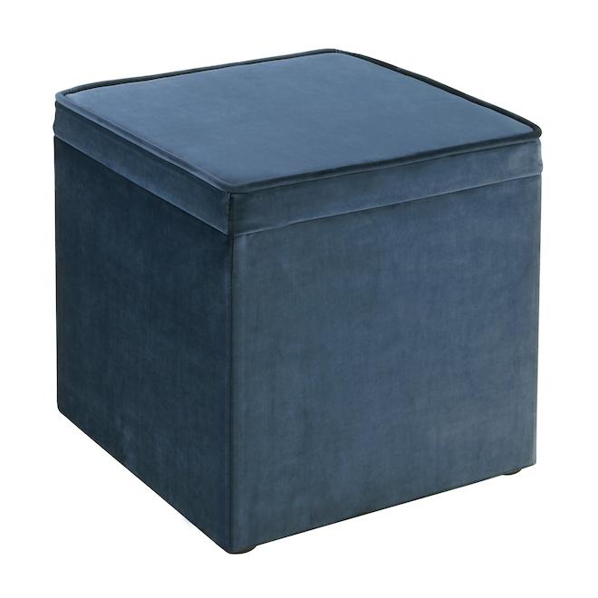 Pouf carré avec plateau style velours, 16 po, bleu
