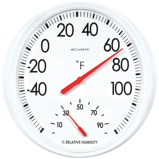 Thermomètre de base AcuRite extérieur avec niveau d'humidité, 13,5 po