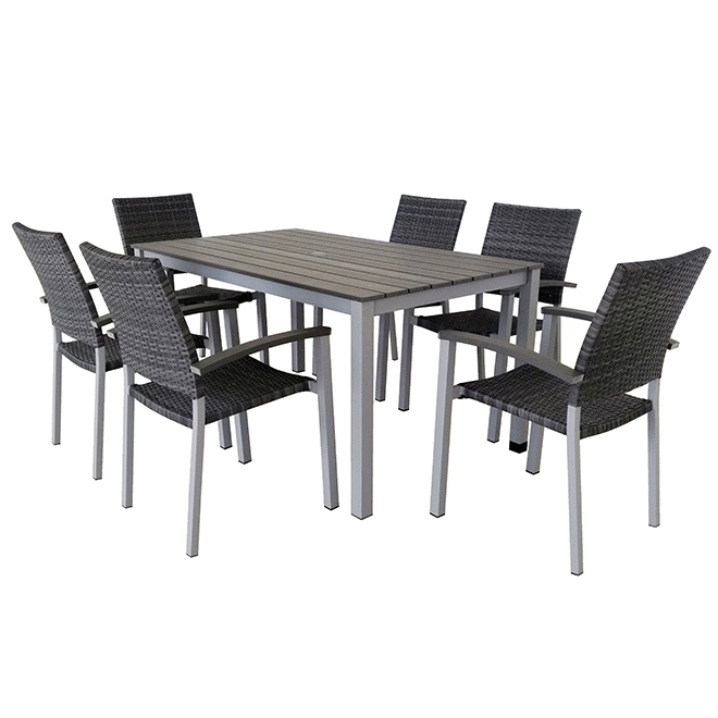 Ensemble à dîner pour patio, faux bois/osier, gris, 6 places