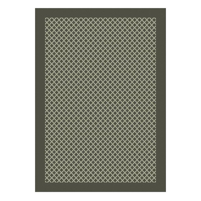 Tapis extérieur Marocain Allen + Roth, polypropylène, 5 pi x 7 pi, gris