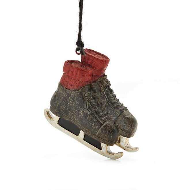 Ornement de Noël, patins, brun et rouge
